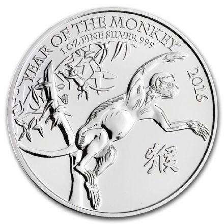 2016 Silver Year of the Monkey Part of the Royal Mint Lunar Series